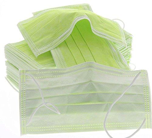50x Mundschutz 3-lagig 99% mit Nasenbügel, latexfrei, Einweg OP Maske, Grün