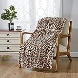 softan Faux Fur Bed Blanket in Leopard Print, Reversible Soft Fluffy Minky Fleece Throw Blanket, Machine Washable, Beige, 60'×80'