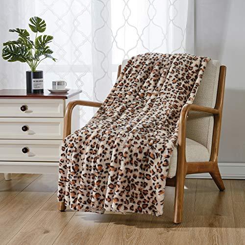 softan Kunstpelz Bettdecke mit Leopardenmuster, Reversible Weiche Flauschige Minky Fleece Decke, Maschinenwaschbar, Braun, 150cm×200cm