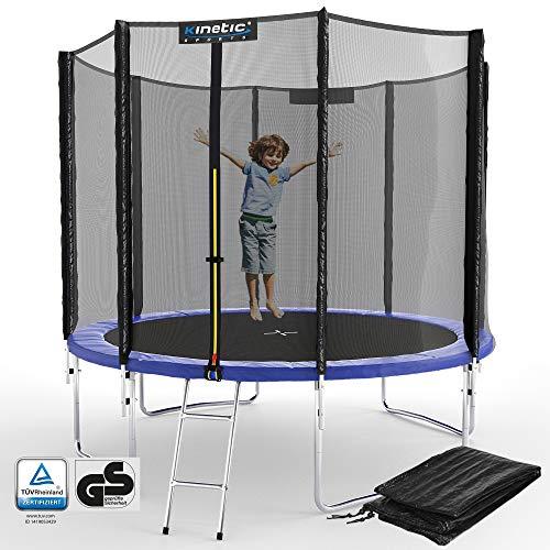 Kinetic Sports Outdoor Gartentrampolin Ø 275, TPLS09, inklusive Sprungtuch aus USA PP-Mesh +Sicherheitsnetz +Rand- u. Regen-Abdeckung +Leiter, bis 150kg, GS-geprüft,UV-beständig, BLAU