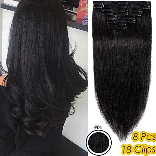 Silk-co Extension A Clip Cheveux Naturel 8 PCS Lisse Clips Cheveux Lustrés Extension Naturel 100% Cheveux Humains Naturel Epaisseur Fine [8 Pouces,#1 Noir Foncé]