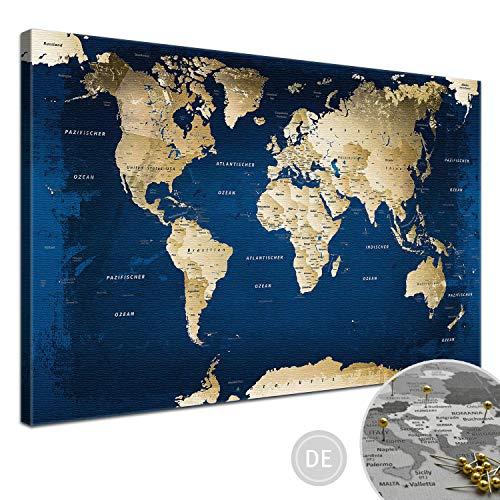 "LANA KK - Weltkarte Leinwandbild mit Korkrückwand zum pinnen der Reiseziele – ""Weltkarte Ocean"" - deutsch - Kunstdruck-Pinnwand Globus in blau, in 150x100cm"