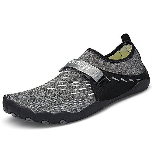 ZOEASHLEY Herren Damen Wandern Barfußschuhe Trekking Schuhe Sommer Ultraleicht Outdoor Fitnessschuhe mit Rutschfest Weiche Sohle Gr.36-46, Schwarz, 46 EU