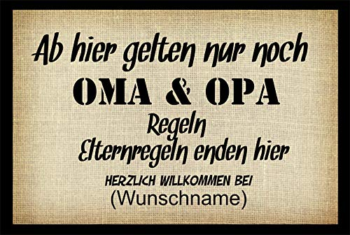 Crealuxe Fussmatte - Herzlich Willkommen (Wunschname) Oma u. Opa Regeln - Fussmatte Bedruckt Türmatte Innenmatte Schmutzmatte lustige Motivfussmatte