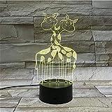 Lámpara De Ilusión 3D Luz De Noche Led Animal Jirafa Madre Y Bebé Habitación De Hotel Ambiente Festivo Decoración Regalo Para Niños Cumpleaños