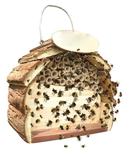 ADEPTNA Insektenhotel aus Holz für alle Kreaturen, toll und klein – Nesthaus für Bienen, Käfer, Ameisen, Marienkäfer und alle Arten von Insekten (Bienen- und Insektenhotel)
