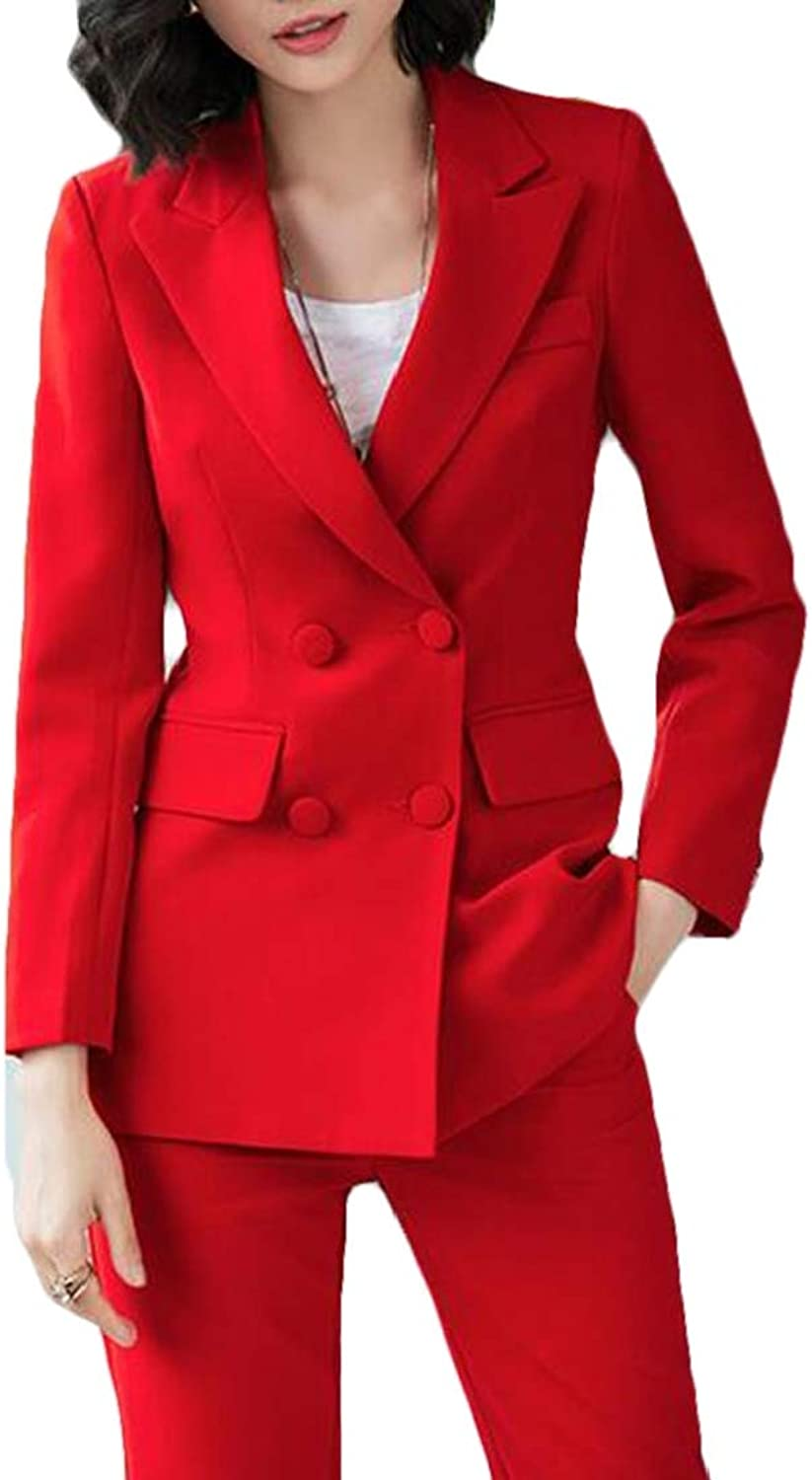 EJLJ Women 2 Pcs DoubleBreasted Pure color Business Work Suits Sets Outfits