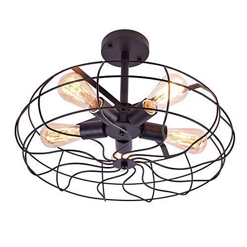 Lingkai vintage Lámpara de techo industrial lámpara de araña rusticas para sala de estar, dormitorio, comedor