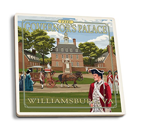 Lantern Press Williamsburg, Virginia - Governor's Palace in Spring (Set of 4 Ceramic Coasters - Cork-Backed, Absorbent)