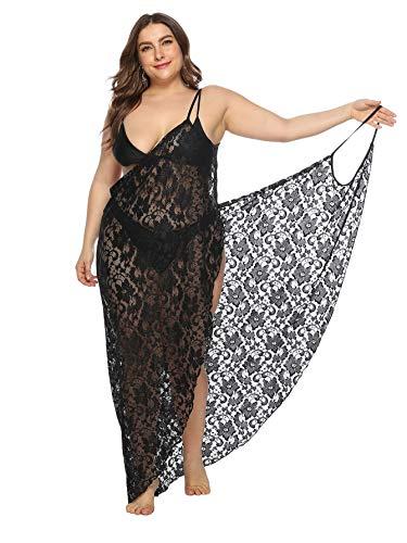 Milumia Womens Plus Size Lace Floral Spaghetti Strap Wrap Cover Up Swimwear Kimono Black