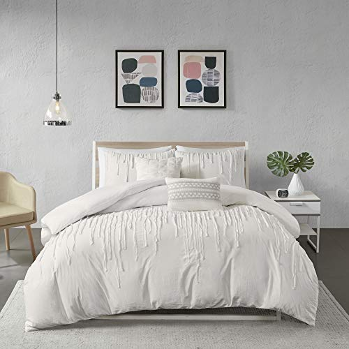 Urban Habitat Cozy Duvet-Casual Textured Trendy Design All Season Comforter Cover Bedding Set with Matching Shams, Decorative Pillow, King/Cal King(104u0022x92u0022), Paloma Stripe Ivory