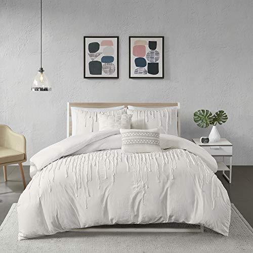 "Urban Habitat Cozy Duvet-Casual Textured Trendy Design All Season Comforter Cover Bedding Set with Matching Shams, Decorative Pillow, King/Cal King(104""x92""), Paloma Stripe Ivory"