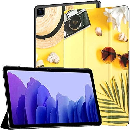 Samsung A7 Tablet Case Flat Lay Traveler Accessories On Yellow Case For Samsung Galaxy Tab A7 10.4 Inch 2020 Release Protective Case Samsung Galaxy A7 Case Cover Tablet Pu Leather Case