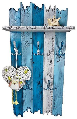SHaBBy CHic ViNTaGe Holz Garderobe mit 5x3 Metallhaken blau weiß (HXBXT: 115x5ox15 cm) aus Echtholz/Massivholz im used look rustikal Landhaus Stil (alternativ: Gaderobe, Gardrobe)
