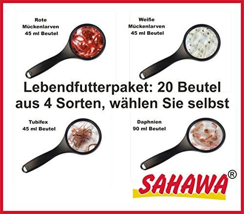 SAHAWA® Lebendfutterpaket freie Wahl, Rote Mückenlarven, Weiße Mückenlarven, Tubifex, Daphnien (20 Stück)