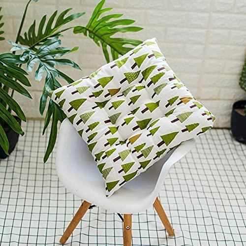 Juego de 2 cojines de cocina antideslizantes de poliéster con diseño floral suave para sillas de oficina de comedor y sillas lavables cojines de asiento de silla con lazos de 40 x 40 x 5 cm