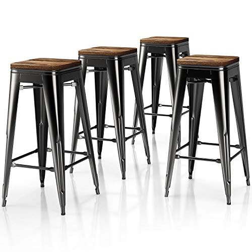 VIPEK Metal Bar Stools High Bar Chair Solid Wood Seat Set of 4 Backless 30 Inch Kitchen Bar Height Barstool Stackable Dining Stools for Home Pub Restaurant Cafe Patio, Gloss Black