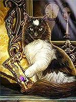 ダイヤモンドアートダイヤモンドペインティング5D 魔法の黒猫 ダイヤモンドアートモザイクアート刺繡キットクロスステッチ 手作りDIY手作りキット30x40cm フレームレス
