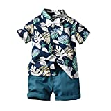 TTLOVE Kleinkind Baby Boy Bekleidung Kurzarm Fliege Gentleman Leaf T-Shirt Tops + Shorts Outfits,Jungen Kinder Sommer Kleidung Set Mode Kurze Und Hosen (Dunkelblau, 100)