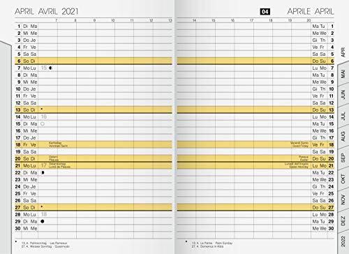 rido/idé 7048020001 Taschenkalender uni-planer Ersatzkalendarium, 2 Seiten = 1 Monat, 104 x 153 mm, Karton-Umschlag, Kalendarium 2021