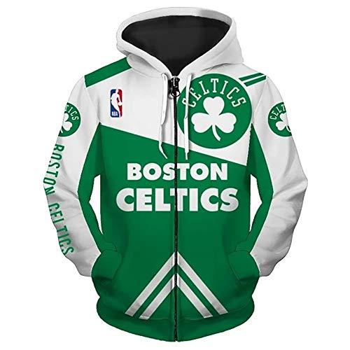 Ordioy NBA Boston Celtics Chaqueta con Capucha Aficionados Al Baloncesto Jersey De Entrenamiento Uniforme Tops Sudadera Deportiva Chaqueta De Punto con Cremallera,M