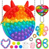 iTechjoy Pop Fidget Toy Pack, Push It Bubble Shoulder Bag for Girls Woman, Rainbow Figit Packages with Rainbow Purse, Figetget Packs Cheap to Relieve Stress, Sensory Figetsss Toys Game for ADHD Autism