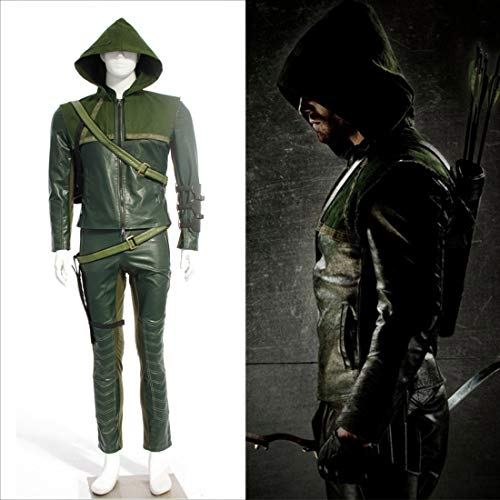 Rubyonly Outfit Green Arrow Costume Party Carnaval pour Adultes Cosplay Costumes d'halloween pour Les Hommes Adultes sans Chaussures,XL