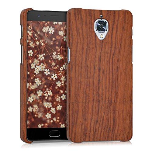 kwmobile Cover Legno Compatibile con OnePlus 3 / 3T - Custodia in Legno Naturale - Hard-Case Rigida Backcover