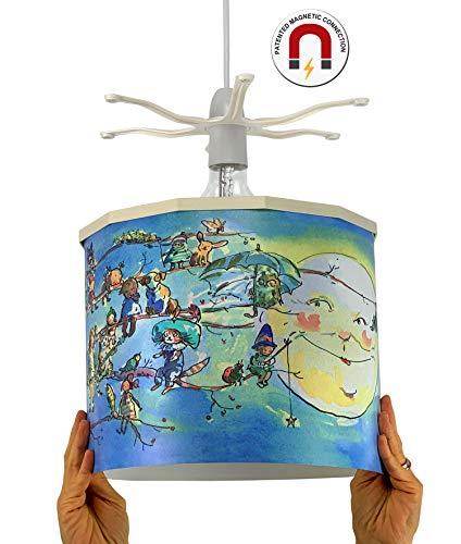 Ereki plafondlamp, ABS, hitte- en vlambestendig, wit, blauw, rood, geel, groen, roze, violet