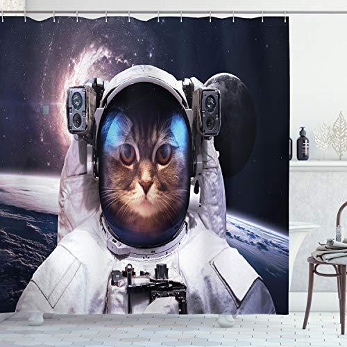 ABAKUHAUS Raum-Katze Duschvorhang, Cosmos Cluster Zodiac, aus Stoff inkl.12 Haken Digitaldruck Farbfest Langhaltig Bakterie Resistent, 175 x 200 cm, Weiß & Dunkelblau