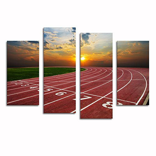 Sea Charm - Canvas Print Wall Art Painting Running Track with Nice Sunrise Scenic Canvas Picture Wall Decor for Living Room Home Decorations Ready to Hang
