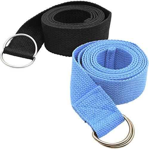 Tavie 2X Correa De Cinturón De Yoga para Ejercicio Físico Flexibilidad Ejercicio Estiramiento Correas De Pilates Correas, Poses De Sujeción, Fisioterapia, 183cm x 3.8cm Negro&Azul