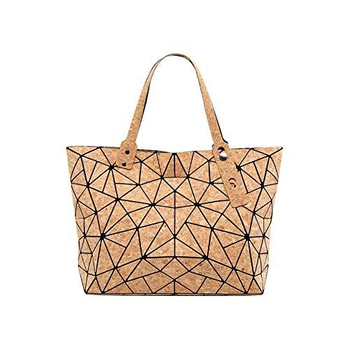 Kork-Handtasche für Damen, Aolaso Geometrische Handtaschen Umhängetasche Schultertaschen Vielseitig Top Fashion Leuchtende Taschen Für Frauen