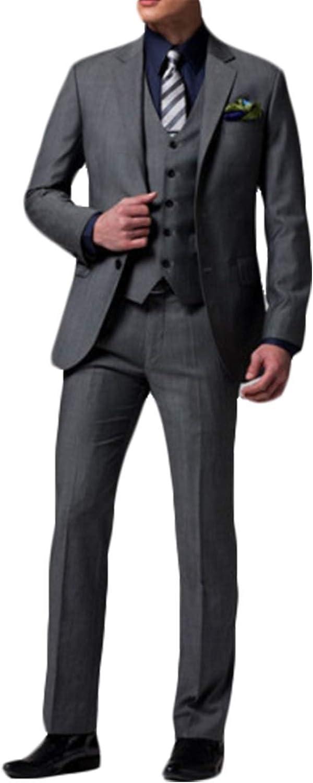 Frank Men's Slim Fit Suit Blazer Jacket Tux Vest & Trousers 3-Piece Suit Set