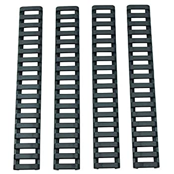 YShoot Rubber Ladder Coverage M-Lok&Keymod Enhanced Rail Panels Cover and Index Clips HeatResistant Non-Slip Combination Kit for M-Lok&Keymod Standard Systems-4 Pieces  Black
