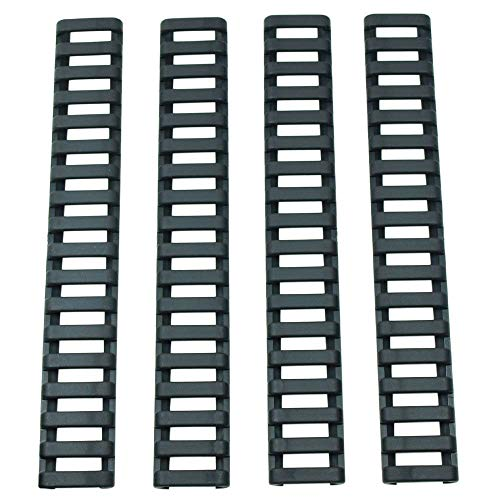 YShoot Rubber Ladder Coverage M-Lok&Keymod Enhanced Rail Panels Cover and Index Clips HeatResistant Non-Slip Combination Kit for M-Lok&Keymod Standard Systems-4 Pieces (Black)