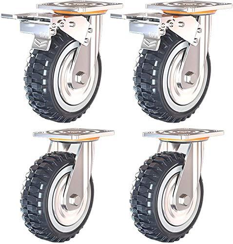 WWJ 50Mm Transportrollen, Lenkrollen mit Bremsen, Polyurethanrollen, verschleißfest, 360 ° -Drehung, schwere Rollen, Fabrik/Ausrüstung, 2 Bremsen + 2 Keine Bremsen, 150 mm