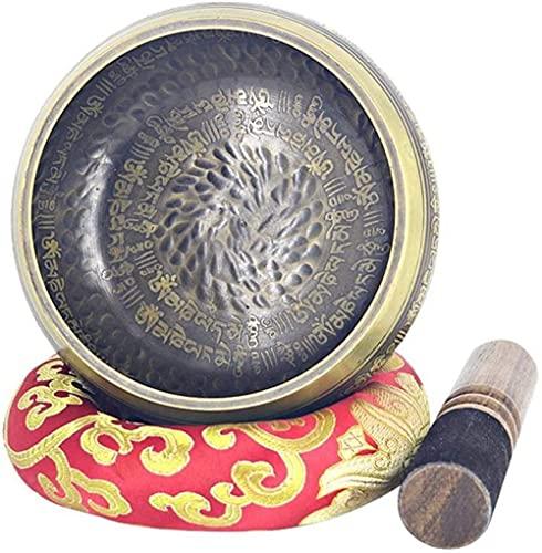 Cuenco cuenco sánscrito tazón de cuenco tibetano con esteras y colchonetas Hecho a mano, latón, yoga, meditación, cuenco, cuenco, ayuda, yoga, meditación, yoga para la meditación del budismo.-Lat