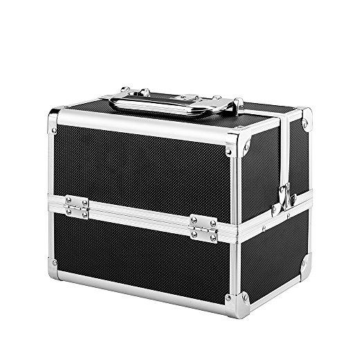 AMASAVA Beauty Case da Viaggio,Custodia per trucco portatile,valigia Trucco, Caso Cosmetici, 24 x 17 x 19 cm,in alluminio ABS, con specchio, Serratura,2 vassoi, Nero