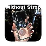 高品質高級感のあるキラキラ輝く指リングケース付きfor iPhone X 8 7 6 6SプラスXR XS 11プロマックスSE 2020カバーファッションダイヤモンド電話ケース-Without Strap-for iPhone 6 6s