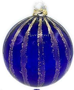 Bola de Navidad de cristal de Murano colores en pasta con hoja de oro de 1ª ley (azul coste dorado)