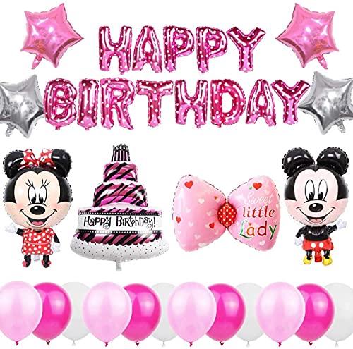 Cumpleaños Decoraciones de Mickey Mouse,Mickey Globos para Fiestas Artículos de Fiesta de Mickey y Minnie para Baby Shower de Cumpleaños (Rosa)