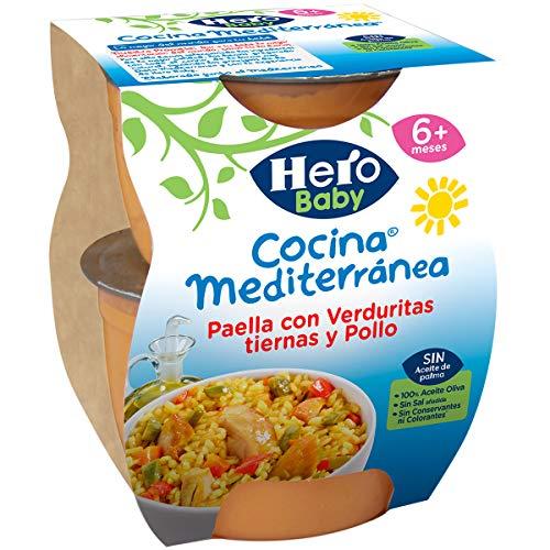 Hero Baby Cocina Mediterránea Paella con Verduritas Tiernas y Pollo Tarritos de Puré para Bebés a partir de 6 meses, 200 g