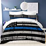 American Flag Bedding Set 3PC Queen Size Blue Stripe USA Flag Duvet Cover Fourth of July Independence Day Retro Stripe USA Flag Quilt Cover Blue Black USA Flag Comforter Cover(2 Pillow Cases)
