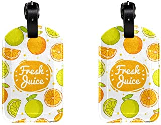 Fruit OrangeLeather Luggage Tags Suitcase Labels Bag Travel ID Bag Tag, 1 Pcs