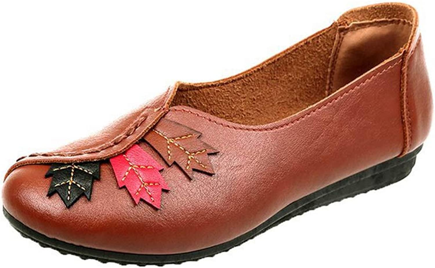 T-JULY Women Ballet Flats Slip on Loafers Moccasins Female Genuine Leather shoes Red Maple Leaf Casual Ladies shoes PU Footwear