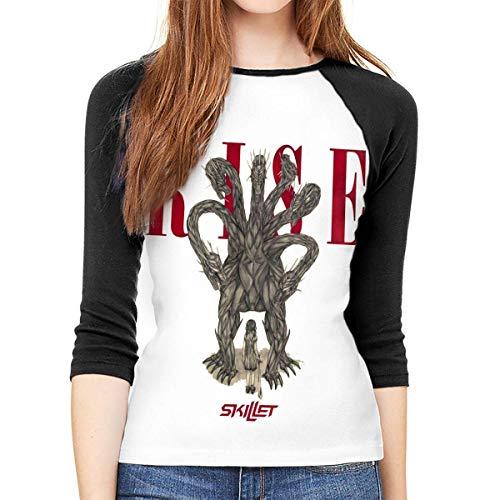 fghjfgdjhfd Frauen 3/4 Ärmel T-Shirts Skillet Comfort Womens 3/4 Long Sleeves Baseball Tee Casual Novelty Outdoor Tees