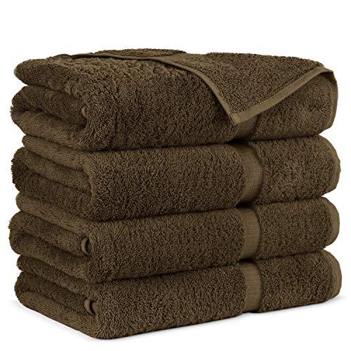 Towel Bazaar Premium Turkish Cotton Super Soft and Absorbent Towels (4-Piece Bath Towels, Cocoa)