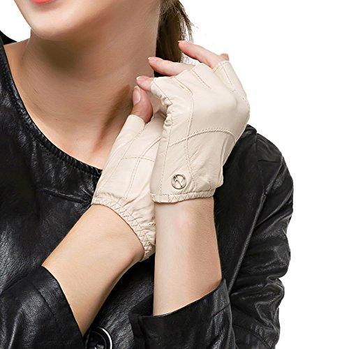 Nappaglo conducción medio dedo guantes de piel de mujer de cuero de piel de cordero fingerless guantes Fitness Outdoor Shorty sin forro