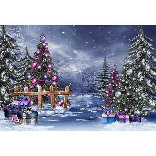 Leowefowa 1,5x1m Vinilo Navidad Telon de Fondo Setter de Escena de Navidad Telón de Fondo de árbol de Bosque de Nieve Copo de Nieve Fondos para Fotografia Party Infantil Photo Studio Props Pho